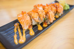 Miso Salmon roll Stock Image