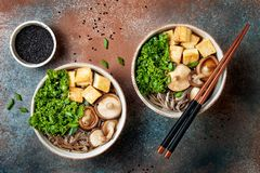 Miso and soba noodles soup with kale, shiitake mushrooms, roasted tofu. Royalty Free Stock Images