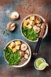 Miso and soba noodles soup with kale, shiitake mushrooms, roasted tofu. Stock Photos
