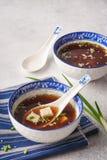Miso soep met tofu, bieslook en sesam stock foto's