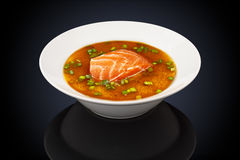 Miso soep met zalm royalty-vrije stock afbeeldingen