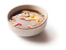 Miso soep met zalm en broccoli Royalty-vrije Stock Fotografie