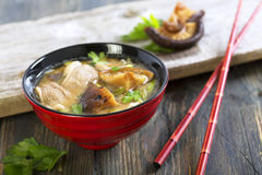 Miso soup with duck breast closeup. Royalty Free Stock Image
