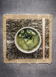 Miso soup on gray on gray  stone background Stock Photos