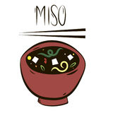 Miso soup. Isolated graphic drawing on white background of national Japanese traditional food soup miso with tofu seaweed noodle in a big red ceramic bowl with Royalty Free Stock Photos