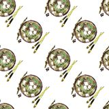 Miso soup pattern seamless watercolor royalty free illustration