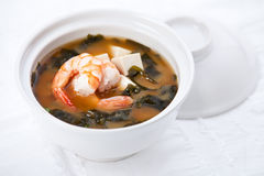 Miso soup with prawns Stock Images