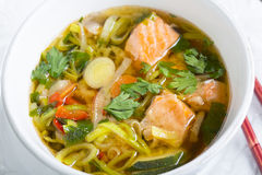 Miso soup with salmon close-up. Royalty Free Stock Images