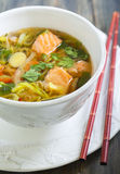 Miso soup with salmon. Royalty Free Stock Image