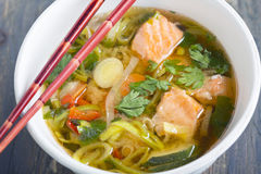 Miso soup with salmon and leek. Royalty Free Stock Images