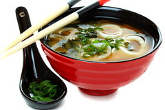 Miso soup with seafood and green onions Royalty Free Stock Image