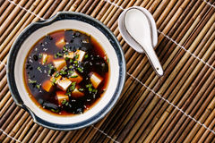 Miso Soup with tofu, seaweed and sesame Royalty Free Stock Photography