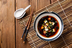 Miso Soup with tofu, seaweed and sesame Stock Images