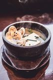 Miso Soup with tofu and shell, Japanese food. Cooking in Japanese Style. Japanese Cuisine Royalty Free Stock Images