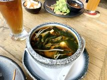 Miso soup. It is traditional japanese food stock photography