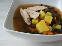 Miso Soup. With vegetables and leftover pork chops Stock Image
