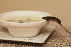 Miso soup in white dish Stock Images