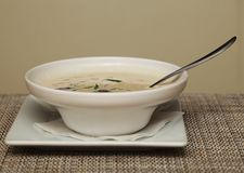 Miso soup in white dish Royalty Free Stock Photo