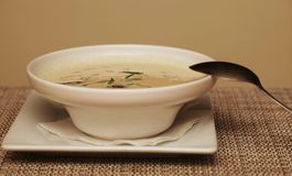 Miso soup in white dish Stock Photography