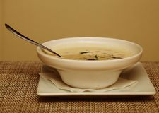 Miso soup in white dish Stock Photos