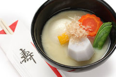 Miso soup zoni (japanese rice cake soup) , japanse Royalty Free Stock Photo