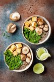 Miso- und sobaNudelsuppe mit Kohl, Shiitakepilze, briet Tofu Stockfotografie