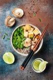 Miso- und sobaNudelsuppe mit Kohl, Shiitakepilze, briet Tofu Stockbild
