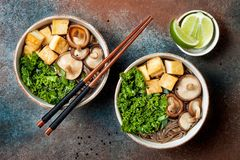 Miso- und sobaNudelsuppe mit Kohl, Shiitakepilze, briet Tofu Stockbilder