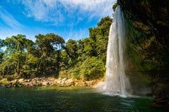 Misol-Ha Waterfall, Mexico - November 24, 2010. Waterfall in sunset. Yucatan peninsula, Chiapas stock photo
