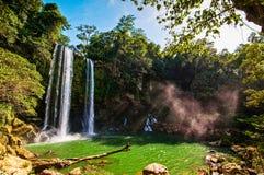 Misol-Ha Waterfall, Mexico - November 24, 2010. Waterfall in sunset. Yucatan peninsula, Chiapas stock photography