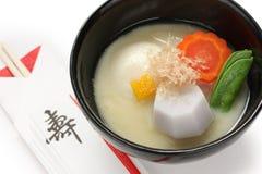 Misosuppe zoni (japanische Reiskuchensuppe), japanse Lizenzfreies Stockfoto