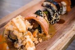 Misosushi och fisk Arkivbild