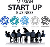 A missão começa acima o lançamento Team Success Concept do negócio Foto de Stock Royalty Free