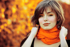 Miss autumn. Portrait of very beautiful young woman in autumn park stock image