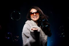 Miss beauty fashion asian woman in Fur Gray winter. Portrait Miss beauty fashion asian woman in Fur Gray winter jacket dress black hair, color make up face hair stock image