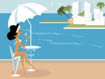 Miss Boo. At Spain having good time by the sea Royalty Free Stock Images