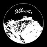 Miss Cascade Mountain In A Circle With `Alberta` Text On Black Background. Vector illustration of Miss Cascade Mountain in Banff, Alberta, Canada within a circle Royalty Free Stock Images