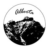 Miss Cascade Mountain In A Circle With `Alberta` Text. Vector illustration of Miss Cascade Mountain in Banff, Alberta, Canada within a circle featuring `Alberta Stock Image