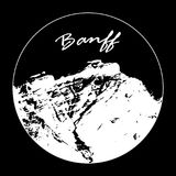 Miss Cascade Mountain In A Circle With `Banff` Text On Black Background. Vector illustration of Miss Cascade Mountain in Banff, Alberta, Canada within a circle Stock Photography