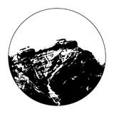 Miss Cascade Mountain In A Circle. Vector illustration of Miss Cascade Mountain in Banff, Alberta, Canada within a circle Stock Photo