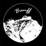 Miss Cascade Mountain In en cirkel med text för `-Banff ` på svart bakgrund royaltyfri illustrationer