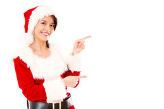 Miss Claus presenting something Royalty Free Stock Photo