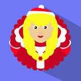 Miss claus santa blonde with snowflakes heart in the hands of the round button to click on a blue background. Miss claus santa blonde with snowflakes heart in Stock Photography
