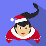 Miss claus Santa with a long oblique top view of  purple background. Miss claus Santa with a long oblique top view of a purple background Royalty Free Stock Photography