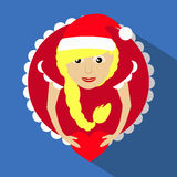 Miss claus santa with snowflakes heart in the hands of the round button to click on a blue background. Miss claus santa with snowflakes heart in the hands of Stock Photo