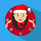 Miss claus santa with snowflakes round button to click on a blue background. Miss claus santa with snowflakes round button to click Stock Images
