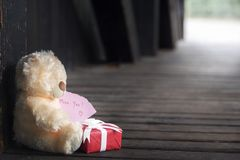 Miss dig meddelandet med leksaken och gåvan arkivfoton