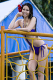 Miss Earth Candidate. Picture of Miss Japan (Takada Tomomi) during the pictorial by the pool side royalty free stock photography