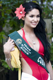 Miss Earth Candidate. Picture of Miss Cuba (Jamillette Gaxiola) during the pictorial by the pool side Stock Photo
