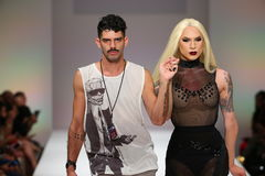 Miss Fame looked STUNNING at the Marco Marco fashion show during Spring 2016 Stock Photo